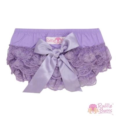 RuffleButts 小女童大蝴蝶結蕾絲包屁褲-紫色款