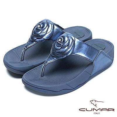 CUMAR舒適樂活-山茶花厚底舒適夾腳鞋-藍色