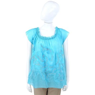 SCERVINO 水藍色鬆緊帶寬領設計紗質上衣