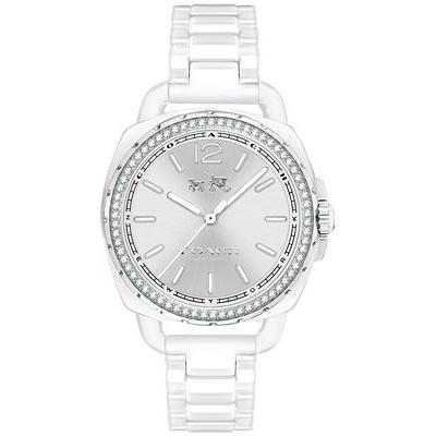 COACH Tatum 閃亮人生 經典馬車圖騰陶瓷錶(14502601)-白/34mm