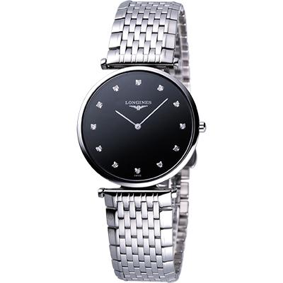 Longines 嘉嵐系列 12顆真鑽石英腕錶(L47554586)-黑/36mm