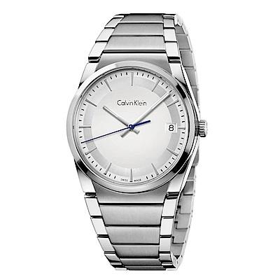 CK CALVIN KLEIN Step 型走系列時尚白色面盤手錶-38mm