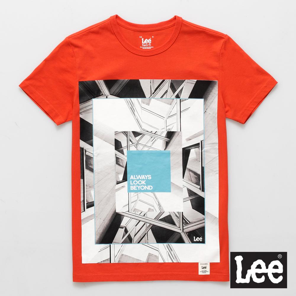 Lee 短袖T恤 漸層圖案印刷-男款(橘色)