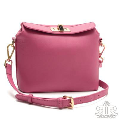 2R-酷馳羊皮Alice時尚轉釦包-甜莓紅
