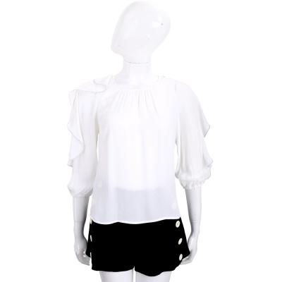 ELISABETTA FRANCHI 白色荷葉滾邊飾袖七分袖上衣