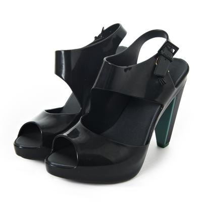 MELISSA-時尚結構高跟鞋-黑