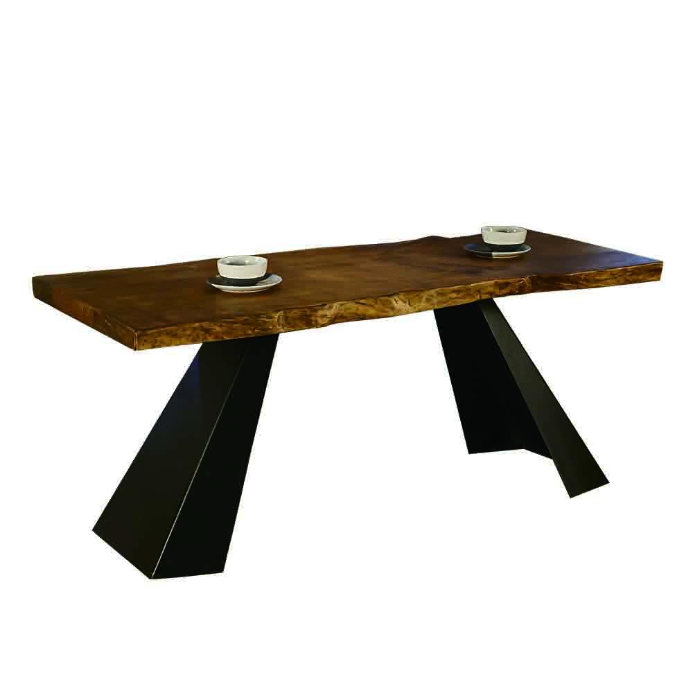AT HOME-工業風設計6.6尺厚切原木鐵藝餐桌工作桌(200*70*76cm)史瓦龍