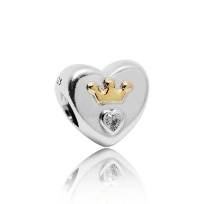 Pandora 潘朵拉 閃耀鑲鋯皇冠愛心 純銀墜飾 串珠
