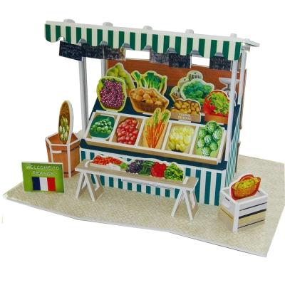 世界之窗 3D立體拼圖 法國-蔬菜攤 3D World Style