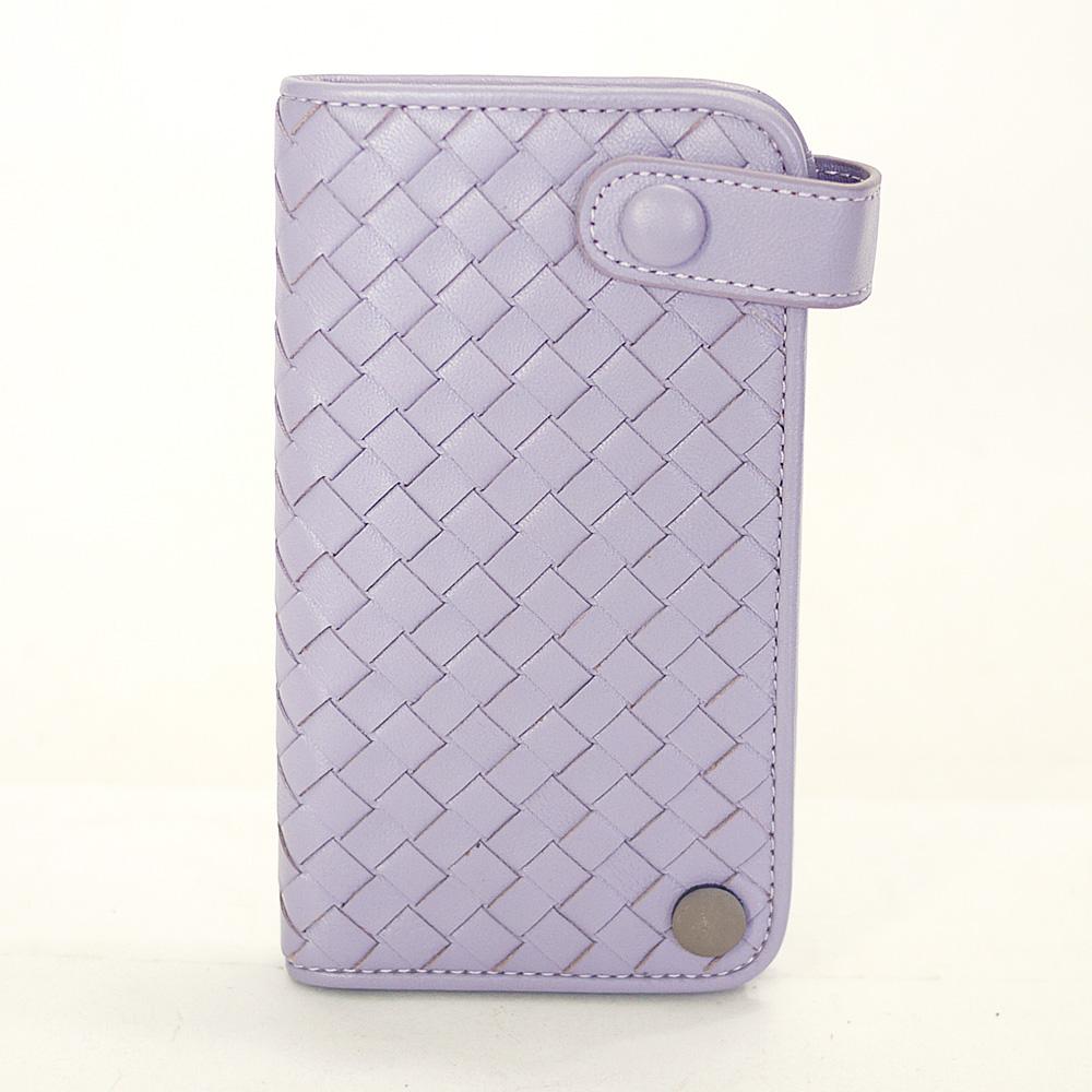 Yasmine巴黎時尚經典編織綿羊皮專業精英釘釦卡片收納夾(粉紫)