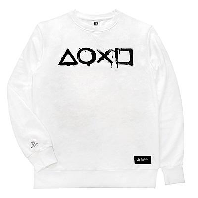 PlayStation水墨洗染風休閒長袖T恤 白色