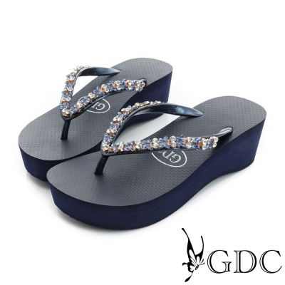GDC-水鑽楔型厚底夾腳人字拖鞋-藍色
