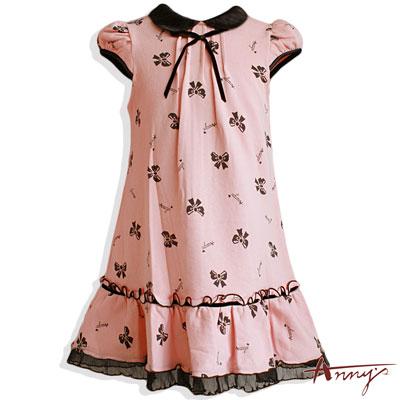 Annys可愛蝴蝶結包袖低腰洋裝*3404粉