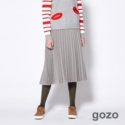 gozo 極簡態度彈性百摺造型及膝裙(二色)-動態show