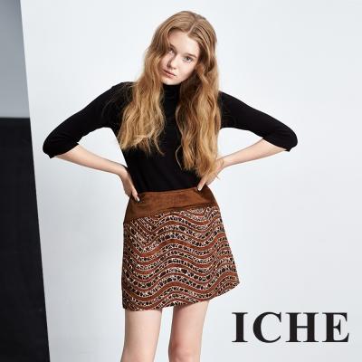 ICHE 衣哲 立體提花拼接咖啡鉛筆短裙