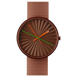 NAVA DESIGN Plicate watch 太陽放射紋美學時尚腕錶-磚紅/39mm