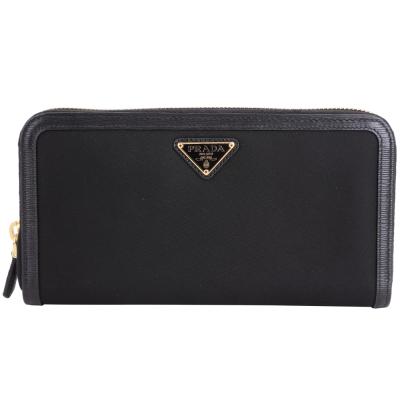 PRADA-Tessuto-Vitello-水波紋牛皮飾邊尼龍拉鍊長夾-黑色
