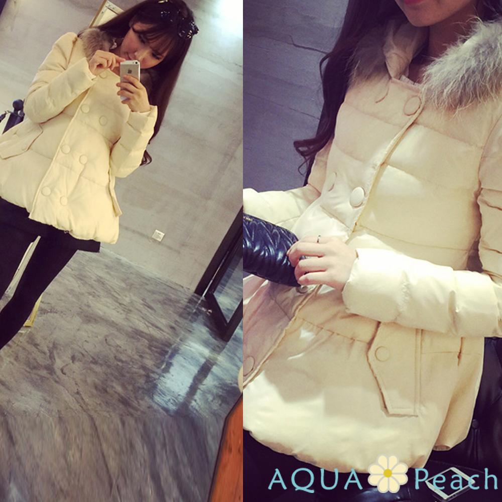 雙排釦泡泡袖連帽羽絨大衣外套 (米色)-AQUA Peach