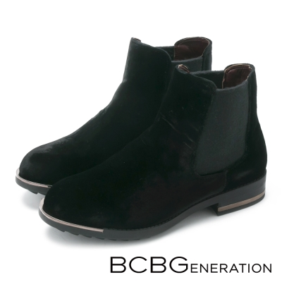 BCBG麂皮金屬線條短筒靴-黑色