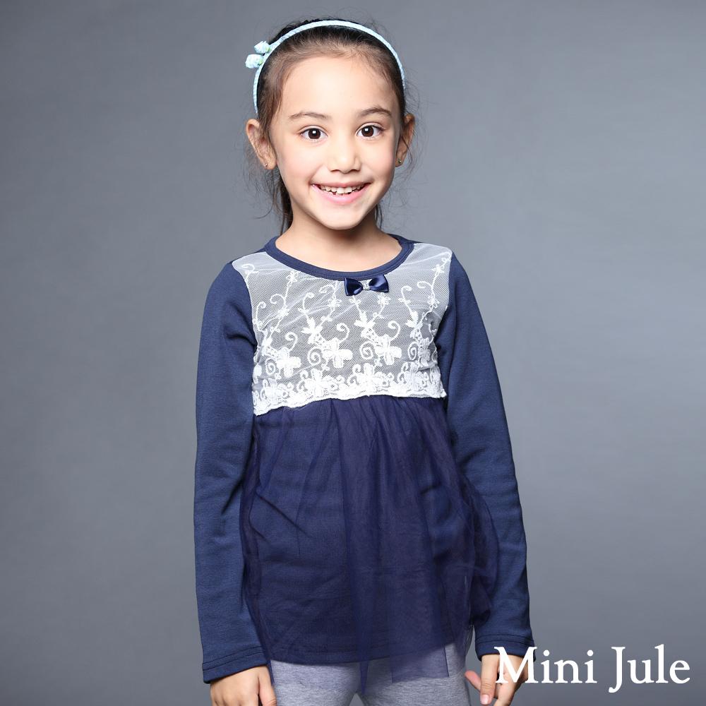 Mini Jule-上衣 花蕾絲拼接網紗長袖上衣(藍)