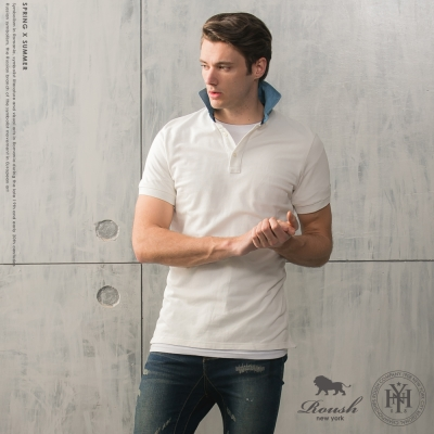 Roush 牛仔襯衫領設計素面網眼polo衫 - (2色)