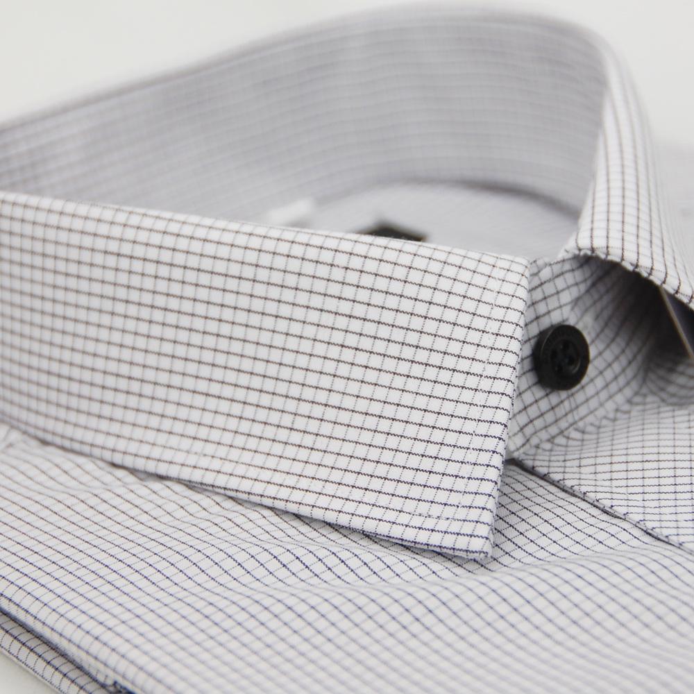 金‧安德森 細黑格紋黑釦窄版短袖襯衫