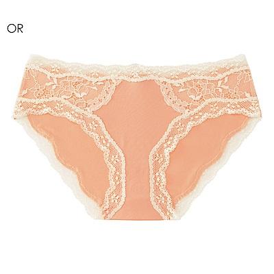 aimerfeel 側邊法式蕾絲無痕內褲-橘色