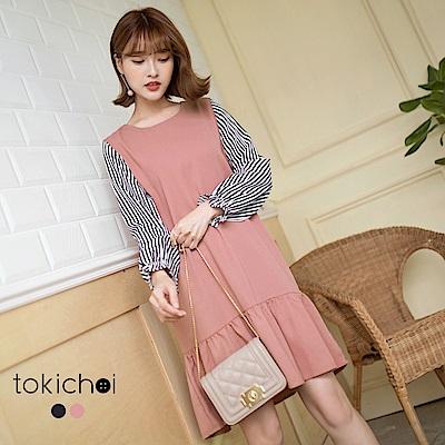 東京著衣 輕甜條紋拼接魚尾裙洋裝-S.M(共二色)