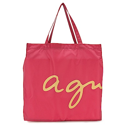 agnes b. 經典LOGO購物袋-桃紅色