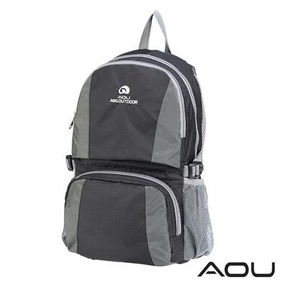 AOU 商務旅行多層背包 輕量防潑水護脊紓壓機能後背包(時尚黑)68-095