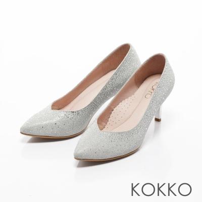 KOKKO-紅毯尖頭桃心口漸層水鑽高跟鞋-銀