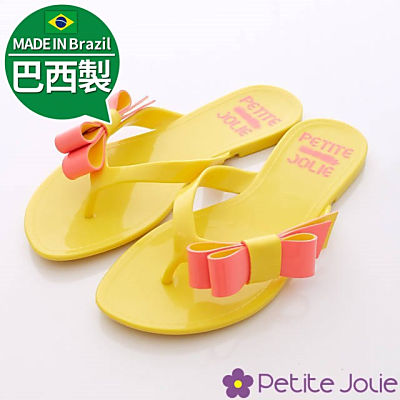 Petite Jolie巴西製-淘氣小緞帶夾腳拖-383黃