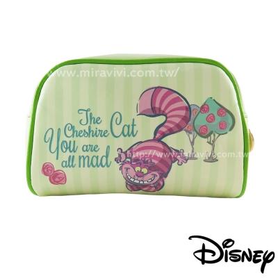 Disney迪士尼愛麗絲夢遊仙境方型皮革化妝包/萬用包-柴郡貓