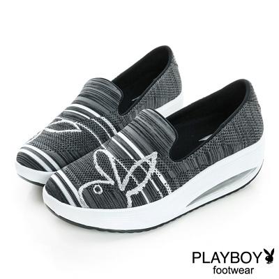 PLAYBOY-休閒進化-針織布面兔頭休閒鞋-黑