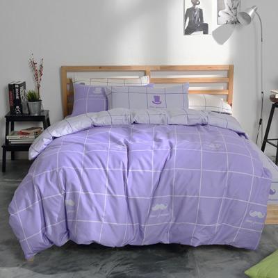 美夢元素 台製-天鵝絨被套-單人 (格子趣 粉彩紫)