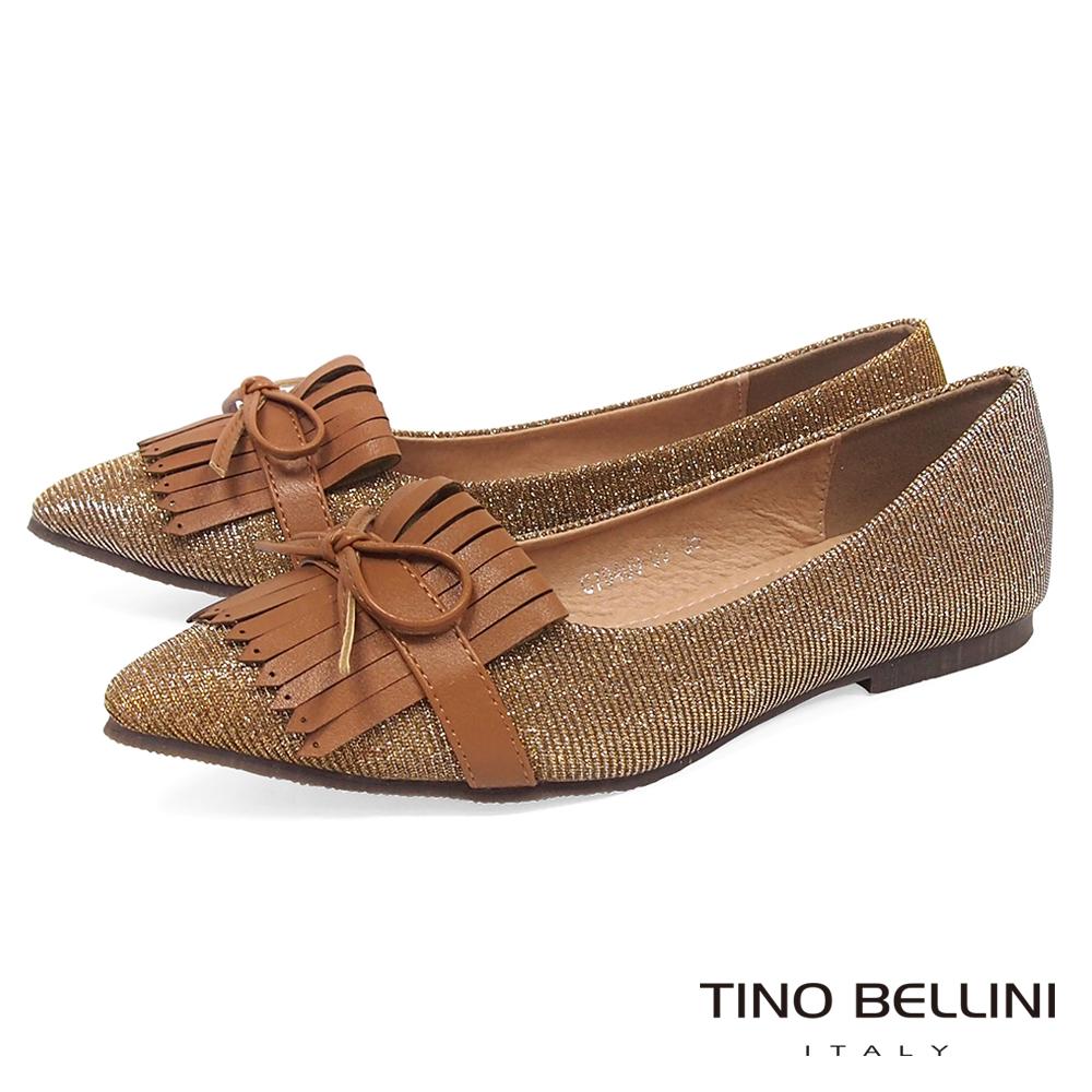 Tino Bellini 恬靜優雅流蘇平底娃娃鞋_金棕