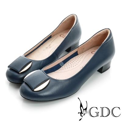 GDC都會-細格紋面料金屬飾扣真皮低跟鞋-藍色