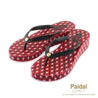 Paidal 復古菱格印花楔形鞋厚底鞋-紅
