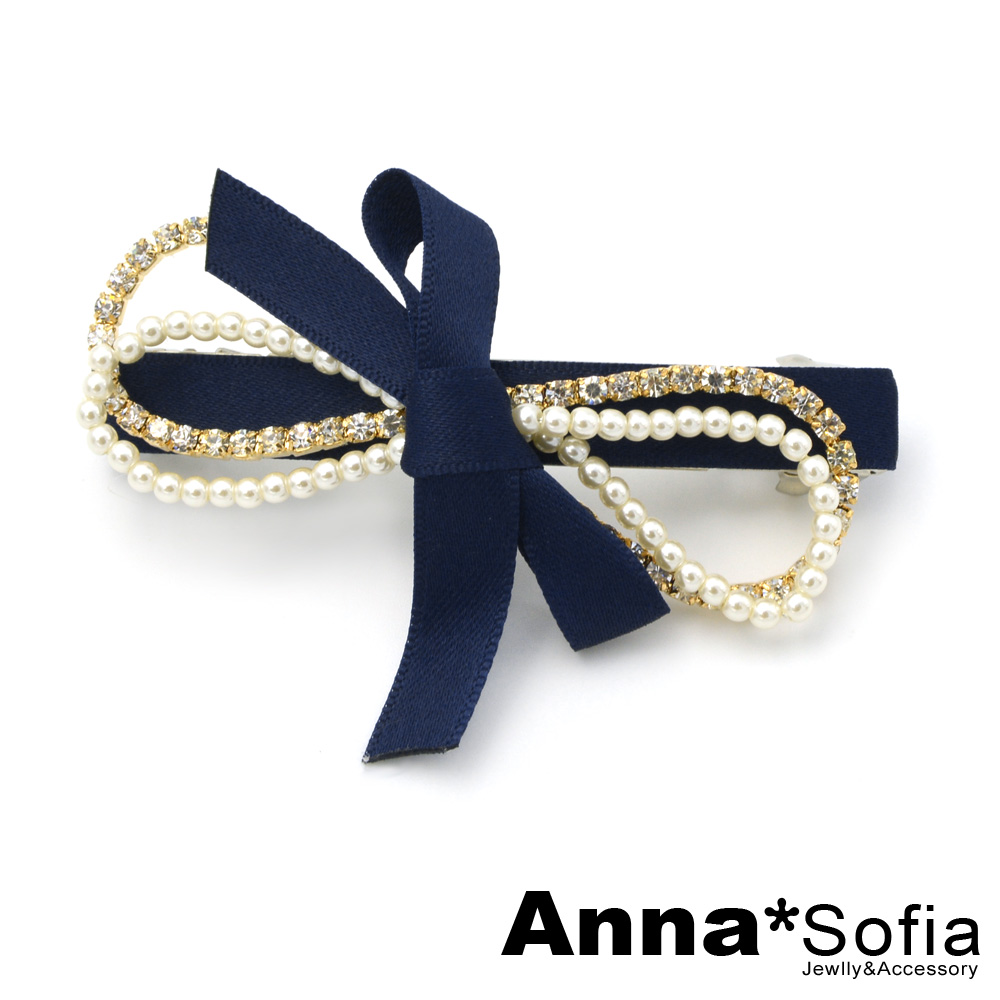 AnnaSofia 珠鑽綴雙蝶結 純手工髮夾(深藍系)