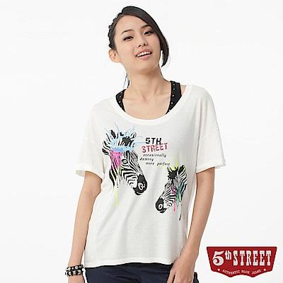 5th STREET 動物圖騰短袖T恤-女-白色