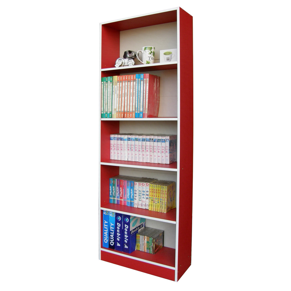 Dr.DIY 60公分寬挑高格書櫃收納櫃-紅白色