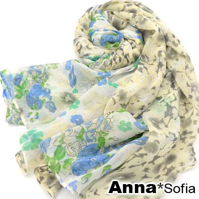 AnnaSofia-落櫻繽紛-加大加寬圍巾-黃藍系