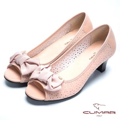 CUMAR舒適通勤 緞帶蝴蝶真皮魚口高跟鞋-粉紅