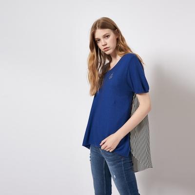 簡約素面拼接條紋前短後長造型上衣 兩色