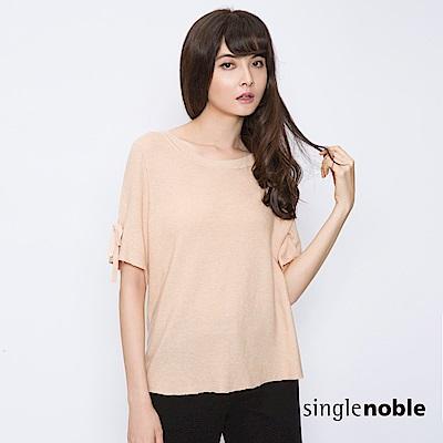 獨身貴族 恬靜復古蝴蝶結袖純色針織衫(3色)