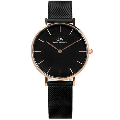 Daniel Wellington Classic米蘭編織帶手錶-黑x玫瑰金框/32mm