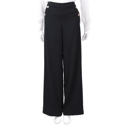 EDWARD ACHOUR PARIS 黑色排釦寬口落地長褲