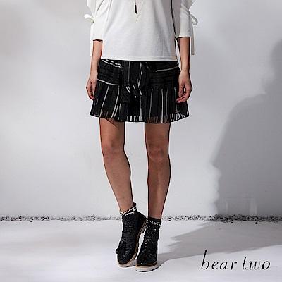 beartwo 鬆緊條紋雪紡短裙(黑白條紋)