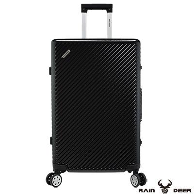 RAIN DEER 時尚斜紋 20 吋PC+ABS鋁框行李箱-曜石黑