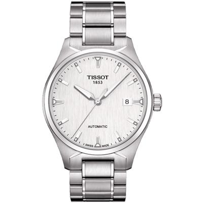 TISSOT T-TEMPO 低調時尚大三針機械腕錶-銀/39mm